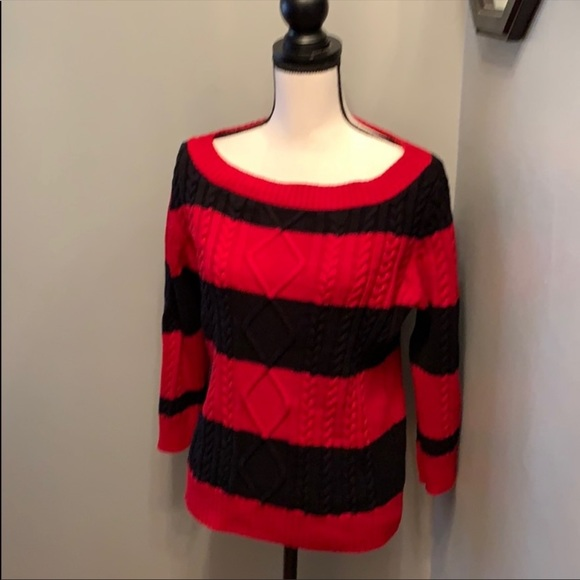 Chaps striped cable knit wide neck sweater